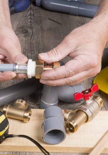 plumbing do-it-yourself with different tools and accessories